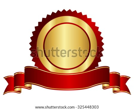 Elegant red and golden banner / ribbon with seal isolated on white background