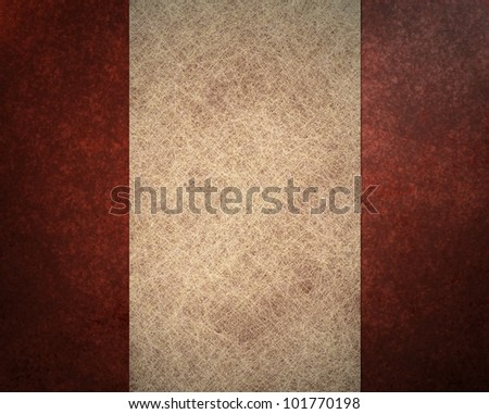 elegant red background layout with parchment white background paper and white ribbon stripe, with black vintage grunge background texture with old vintage design, and red frame - stock photo
