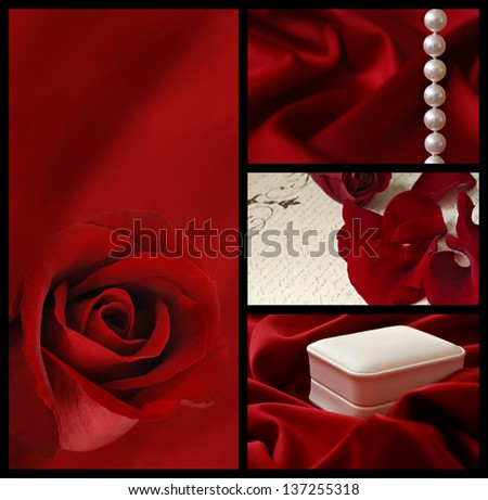 Elegant red roses, satin, and pearls collage - stock photo