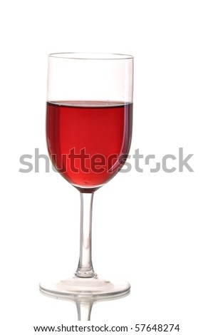elegant red wine glass isolated on white background