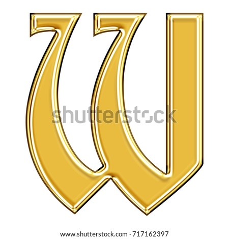Elegant rich gold uppercase or capital letter W in a 3D illustration with a smooth metallic golden surface and ancient antique font style isolated on a white background with clipping path.