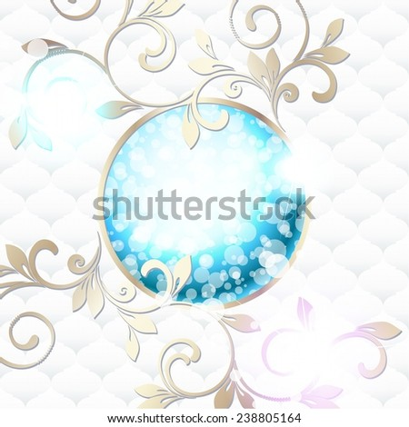 Elegant rococo emblem in vibrant blue on white (jpg); eps10 version also available - stock photo