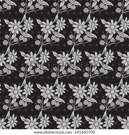 Elegant seamless pattern in black silver colors with decorative flowers, design elements. Floral pattern for invitations, greeting cards, scrapbooking, print, gift wrap, manufacturing - stock photo