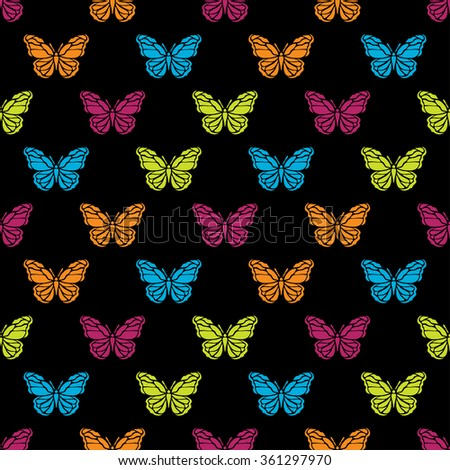 Elegant seamless pattern with abstract butterfly symbols, design elements. Can be used for invitations, greeting cards, scrapbooking, print, gift wrap, manufacturing. Insect theme