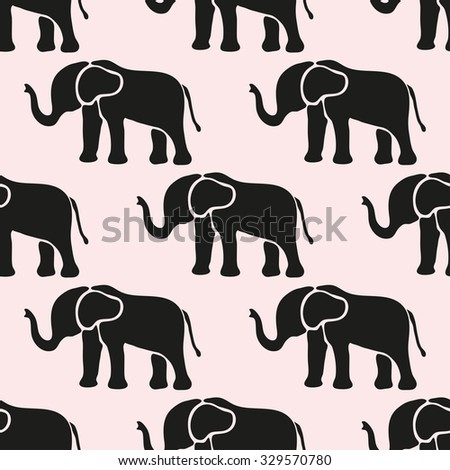 Elegant seamless pattern with abstract elephant symbols, design elements. Can be used for invitations, greeting cards, scrapbooking, print, gift wrap, manufacturing. Animal theme - stock photo