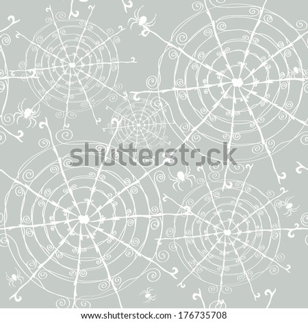 elegant seamless pattern with decorative spiders and spider webs, design element