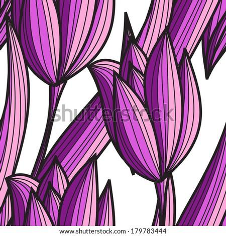 elegant seamless pattern with decorative violet tulips, design element - stock photo