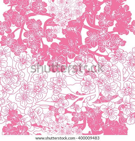 Elegant seamless pattern with hand drawn decorative cherry blossom flowers, design elements. Floral pattern for wedding invitations, greeting cards, scrapbooking, print, gift wrap, manufacturing.