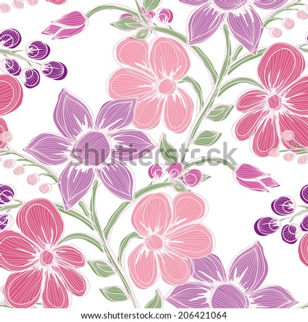 Elegant seamless pattern with hand drawn decorative flowers, design elements. Floral pattern for wedding invitations, greeting cards, scrapbooking, print, gift wrap, manufacturing. - stock photo
