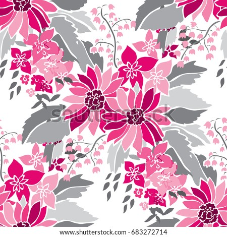 Elegant seamless pattern with hand drawn decorative flowers, design elements. Floral pattern for wedding invitations, greeting cards, wallpapers, scrapbooking, print, gift wrap, manufacturing.