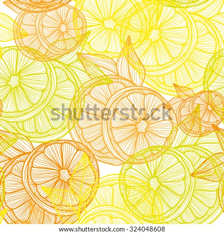 Elegant seamless pattern with hand drawn decorative lemon fruits, design elements. Can be used for invitations, greeting cards, scrapbooking, print, gift wrap, manufacturing. Food background - stock photo