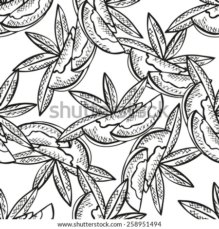 Elegant seamless pattern with hand drawn decorative sliced mango fruits, design elements. Can be used for invitations, greeting cards, scrapbooking, print, gift wrap, manufacturing. Food background