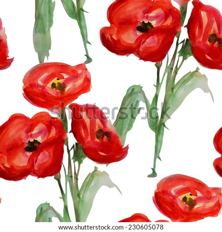 Elegant seamless pattern with watercolor painted decorative red poppy flowers, design elements. Floral pattern for wedding invitations, greeting cards, scrapbooking, print, gift wrap, manufacturing. - stock photo