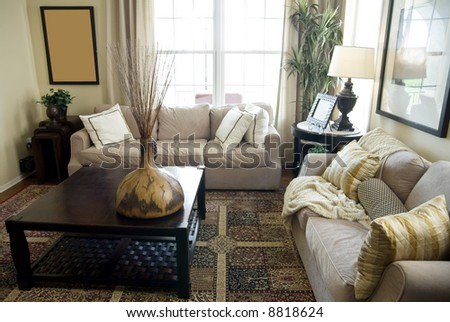 Elegant Showcase Interior with beautiful natural light flowing into the room. - stock photo