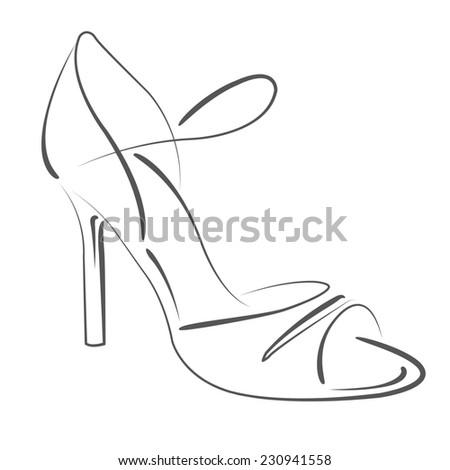 Elegant sketched woman's shoe for Argentine tango dancing. Design template for label, banner, postcard, logo. Raster illustration. - stock photo
