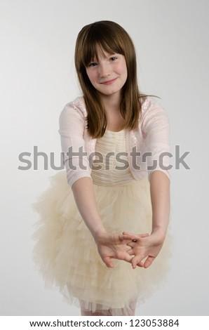 Elegant smiling girl isolated - stock photo