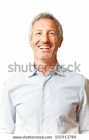Elegant smiling mature casual man portrait isolated on white background - stock photo