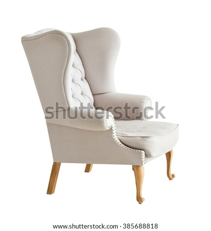 Elegant soft arm-chair isolated on white - stock photo
