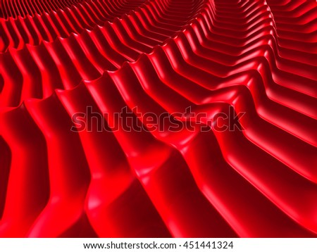 Elegant Soft Red Round Waves Design Background. 3d Render Illustration - stock photo