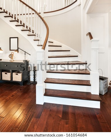 Elegant Stairway in New Home - stock photo