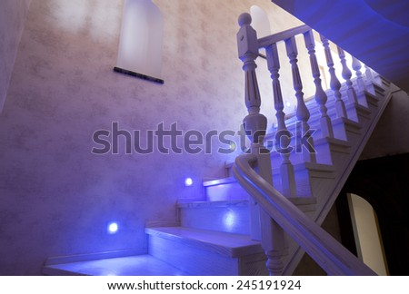 Elegant stairway in new home - stock photo