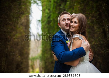 elegant stylish groom with his happy gorgeous brunette bride on the background of trees in the park