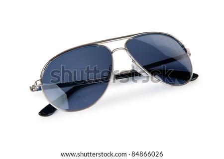 Elegant sunglasses isolated on white - stock photo