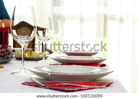 Elegant table setting with light