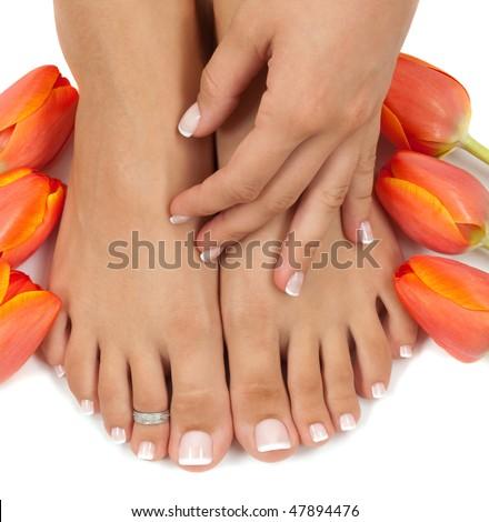 Elegant tulips manicured hand and pedicured feet - stock photo
