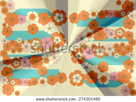 Elegant  unique  modern  delicate   abstract design  with floral  and geometric motifs superimposed   on a  pastel shiny    background ideal for  superb  classic wallpapers. - stock photo