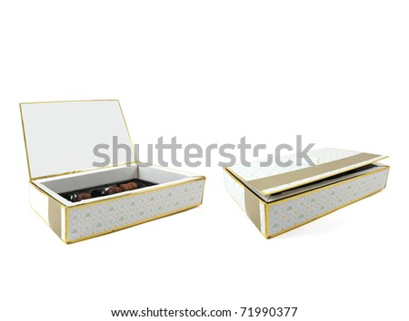 elegant valentine chocolate box isolated over white background - stock photo