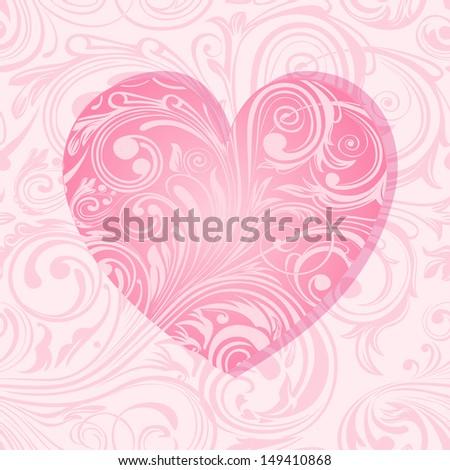 Elegant valentine's card with heart - stock photo