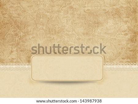 Elegant vintage background with lace - stock photo