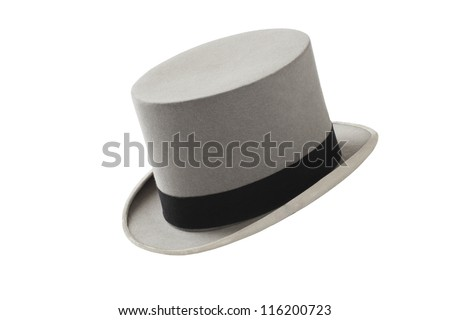 Elegant vintage gray wool felt top hat with black hat band. Grosgrain ribbon trim around rolled brim. Horizontal, isolated on white background.