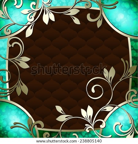 Elegant vintage rococo frame in dark green (jpg); eps10 version also available - stock photo