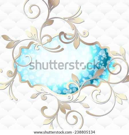 Elegant vintage rococo label in blue and white (jpg); eps10 version also available - stock photo