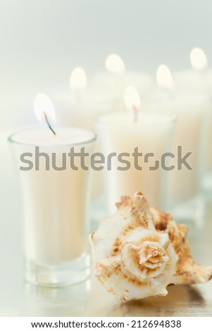 Elegant votives and seashells against reflective surface and lighting to add to the ambiance.   - stock photo