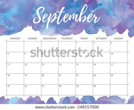elegant watercolor bright print ready calendar stock illustration