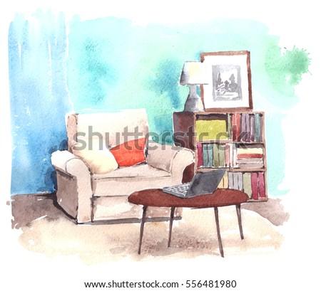 Elegant Watercolor Illustration Of Modern Interior