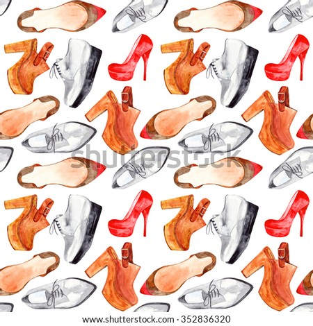 Elegant watercolor woman's  shoes seamless pattern. Hand drawn. Oxford boots, red high platform, brawn kitten heel shoes, clogs - stock photo
