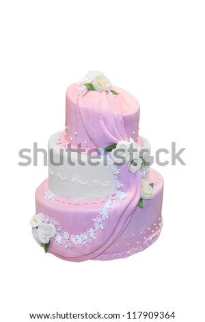Elegant wedding cake isolated on white - stock photo