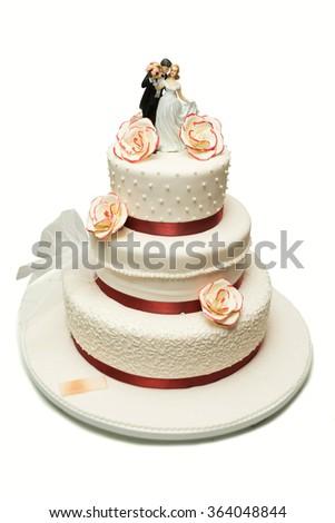 Elegant wedding cake on white backgrounds - stock photo