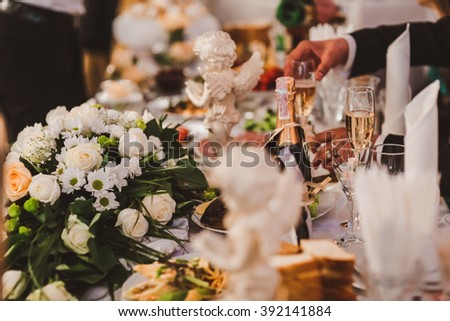 Elegant Wedding decorations with flowers - stock photo