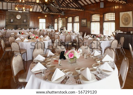 Elegant wedding reception area ready for guests and the party - stock photo