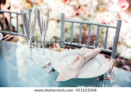 Elegant wedding table appointments - stock photo
