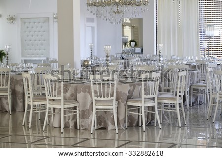 Elegant wedding table arrangement - stock photo