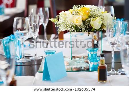 elegant wedding table setting - stock photo