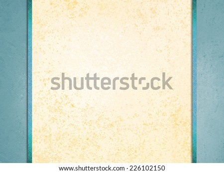 elegant white background paper with blue sidebars and dark blue ribbon accent, beige background, fancy blank poster - stock photo