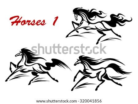 elegant wild horse stallions gallop run stock illustration 320041856 shutterstock. Black Bedroom Furniture Sets. Home Design Ideas
