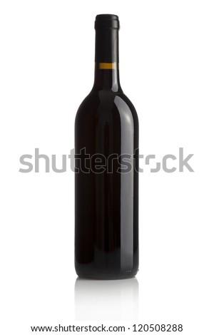 Elegant wine bottle isolated on a white background - stock photo
